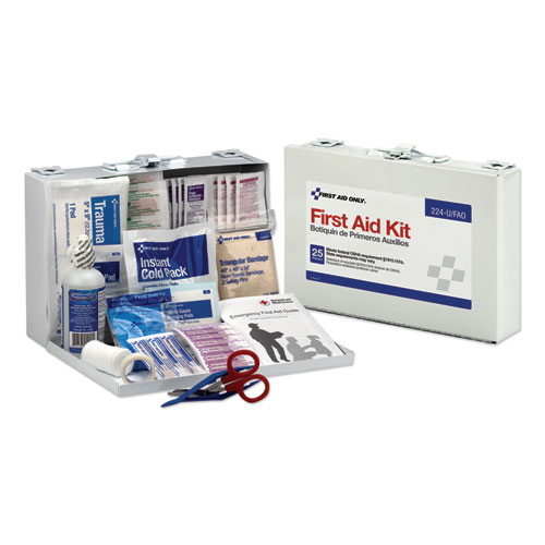 First Aid Kit for 25 People, 106-Pieces, OSHA Compliant, Metal Case | by Plexsupply
