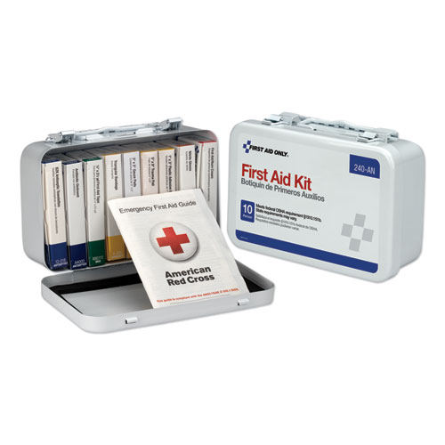 Unitized First Aid Kit for 10 People, 64-Pieces, OSHA/ANSI, Metal Case