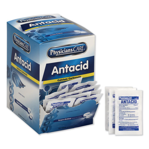 Antacid Calcium Carbonate Medication, Two-Pack, 50 Packs/Box