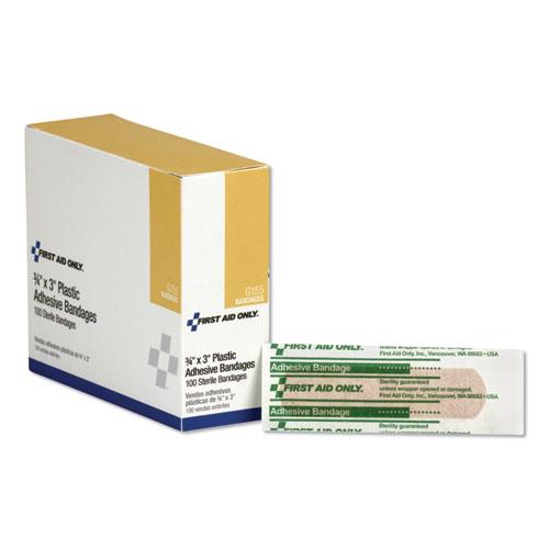First Aid Plastic Bandages, 3/4 x 3, 100/Box