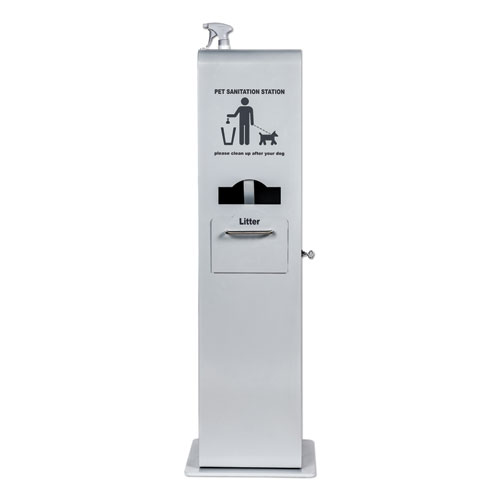 Poopy Pouch Indoor Pet Sanitation Station, 15.5 x 16 x 51, Silver Metallic