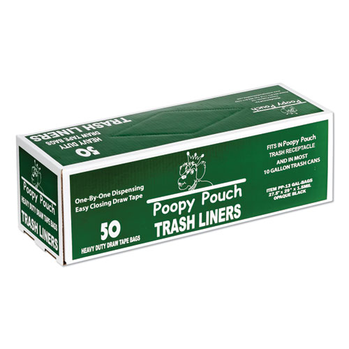Heavy Duty Trash Liners, 13 gal, 1.5 mil, 27.5 x 29, Black, 50/Box