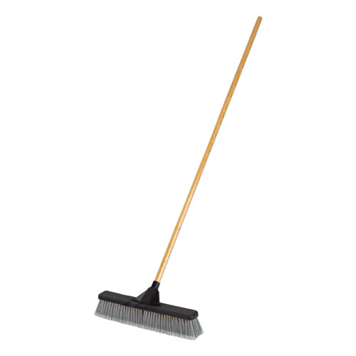 Push Brooms, 18, PET Bristles, For Heavy Debris, Black/Gray