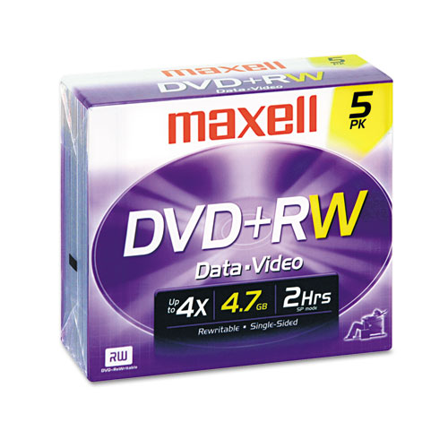 DVD+RW Discs, 4.7GB, 4x, w/Jewel Cases, Silver, 5/Pack | by Plexsupply