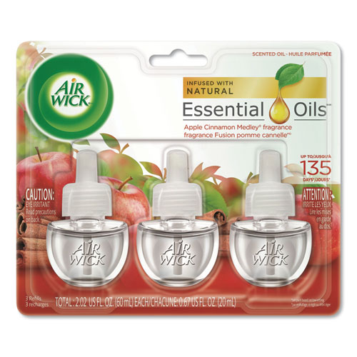 Scented Oil Refill, Warming - Apple Cinnamon Medley, 0.67 oz, 3/Pack, 6 Packs/Carton