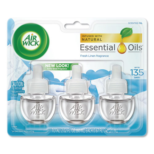 Scented Oil Refill, Warming - Fresh Linen, 0.67 oz, 3/Pack, 6 Packs/Carton