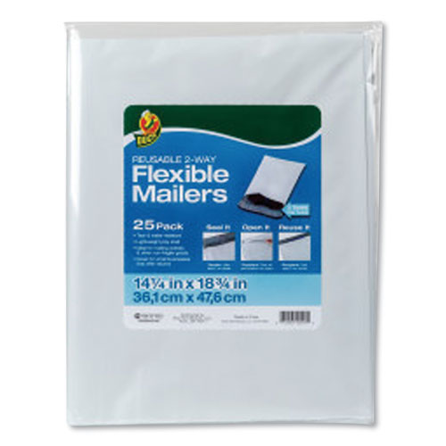 Reusable 2-Way Flexible Mailers, Self-Adhesive Closure, 14.25 x 18.75, White, 25/Pack
