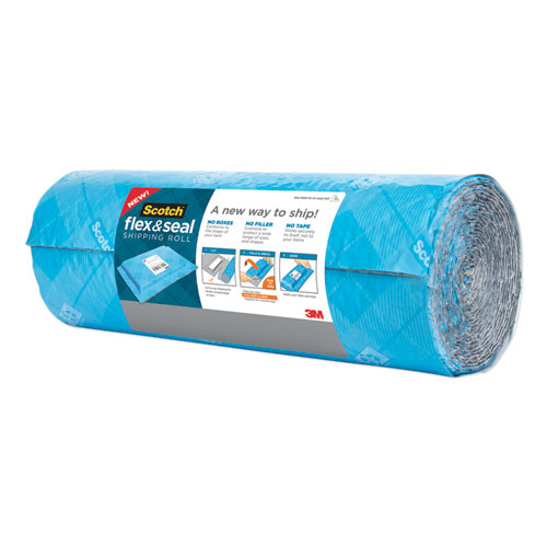 """Flex and Seal Shipping Roll, 15"""" x 10 ft, Blue/Gray"""