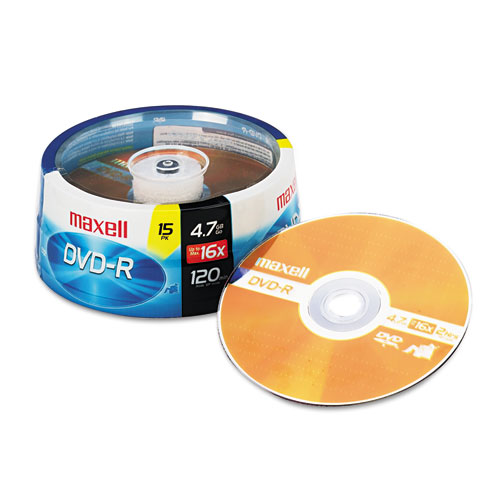 DVD-R Discs, 4.7GB, 16x, Spindle, Gold, 15/Pack | by Plexsupply
