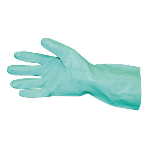 Short-Sleeve Unlined Nitrile Gloves, Powder-Free, Green, Large, Dozen
