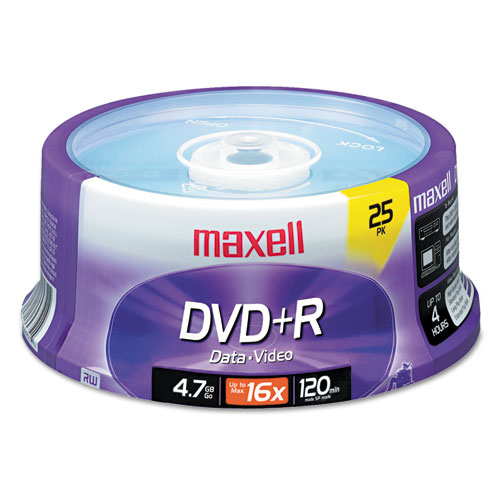 DVD+R Discs, 4.7GB, 16x, Spindle, Silver, 25/Pack | by Plexsupply