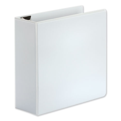 """Deluxe Easy-to-Open D-Ring View Binder, 3 Rings, 4"""" Capacity, 11 x 8.5, White"""