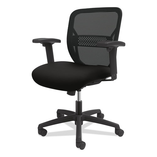 HON® Gateway Mid-Back Task Chair with Adjustable Arms, Supports Up to 250 lbs, Black Seat, Black Back, Black Base