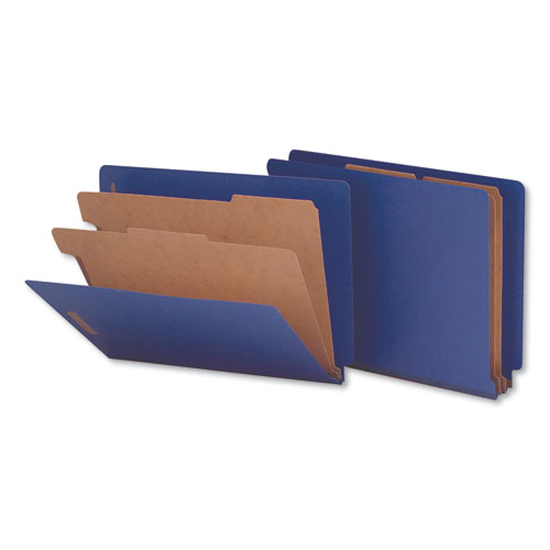 Deluxe Six-Section Colored Pressboard End Tab Classification Folders, 2 Dividers, Letter Size, Cobalt Blue Cover, 10/Box