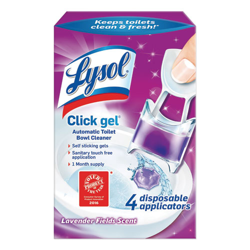Click Gel Automatic Toilet Bowl Cleaner, Lavender Fields, 0.68 oz, 4/Box