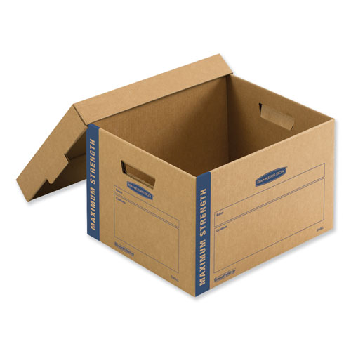 SmoothMove Maximum Strength Moving Boxes, Medium, Half Slotted Container (HSC), 18.5 x 12.25 x 12, Brown Kraft/Blue, 8/PK