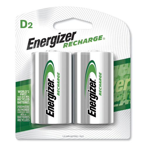 Energizer® NiMH Rechargeable D Batteries, 1.2V, 2/Pack