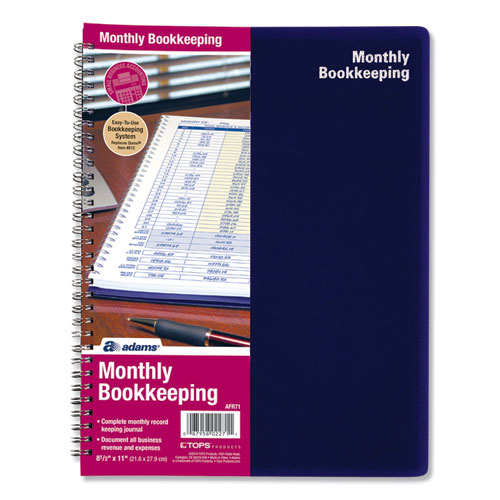 Monthly Bookkeeping Record Book, Royal Blue, 11 x 8.5, 128 Pages