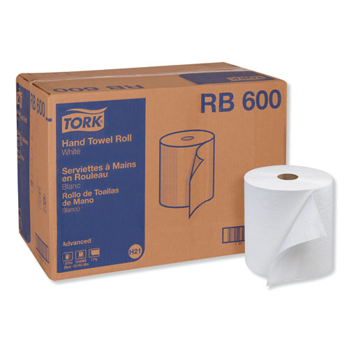 "Tork® Advanced Hardwound Roll Towel, One-Ply, 7.88"" x 600 ft, White, 12 Rolls/Carton"
