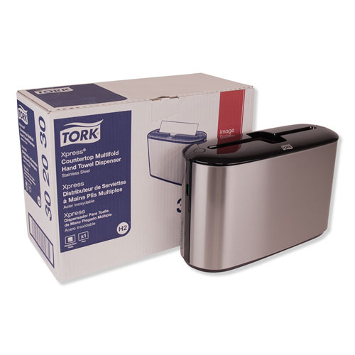 Xpress Countertop Towel Dispenser, 12.68 x 4.56 x 7.92, Stainless Steel/Black