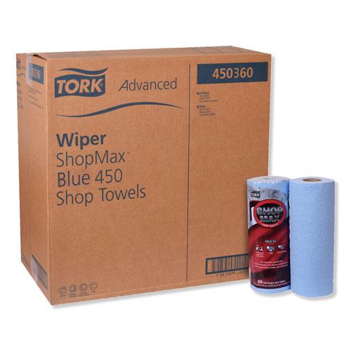 Tork® Advanced ShopMax Wiper 450, 11 x 9.4, Blue, 60/Roll, 30 Rolls/Carton