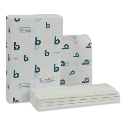 Structured Multifold Towels, 1-Ply, 9 x 9.5, White, 250/Pack, 16 Packs/Carton