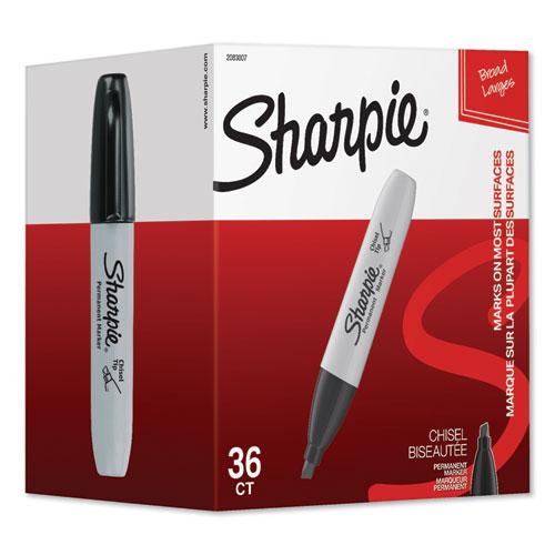 Chisel Tip Permanent Marker, Broad, Black, 36/Pack