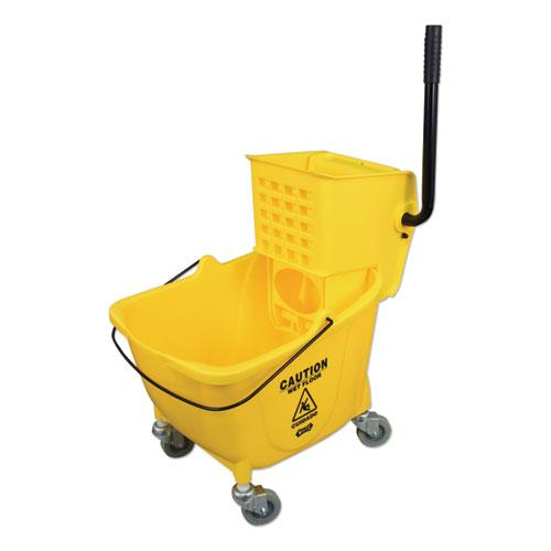 Side-Press Wringer and Plastic Bucket Combo, 12 to 32 oz, Yellow