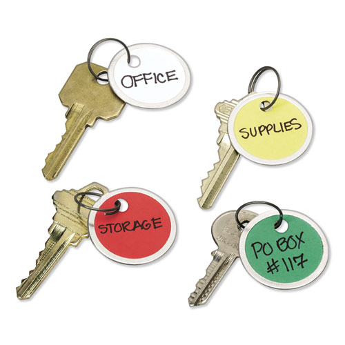 Key Tags with Split Ring, 1 1/4 dia, Assorted Colors, 50/Pack | by Plexsupply
