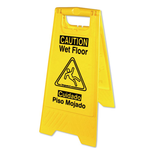 Bilingual Yellow Wet Floor Sign, 12.05 x 1.55 x 24.3, Yellow | by Plexsupply