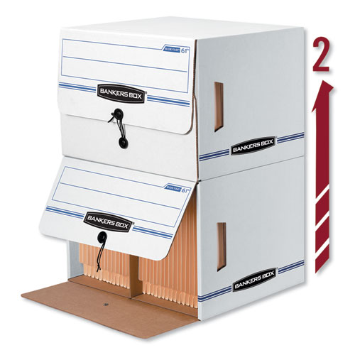 SIDE-TAB Storage Boxes, Letter Files, White/Blue, 12/Carton | by Plexsupply