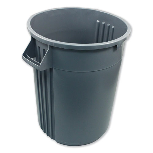 Advanced Gator Waste Container, Round, Plastic, 32 gal, Gray