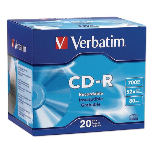 Verbatim - cd-r discs, 700mb/80min, 52x, w/slim jewel cases, silver, 20/pack, sold as 1 pk