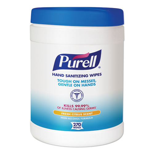 PURELL® Sanitizing Hand Wipes, 6 x 6 3/4, White, 270/Canister, 6 Canisters/Carton