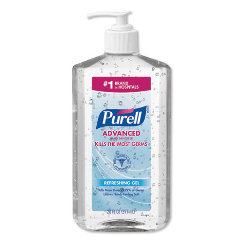PURELL® Advanced Refreshing Gel Hand Sanitizer, Clean Scent, 2 oz, Flip-Cap Bottle, 24/Carton