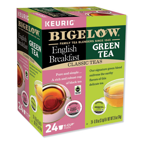 Green Tea and English Breakfast Variety Pack, 24/Box