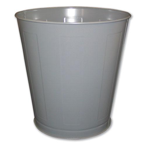 Impact® Round Metal Wastebasket, Round, Steel, 28 qt, Gray