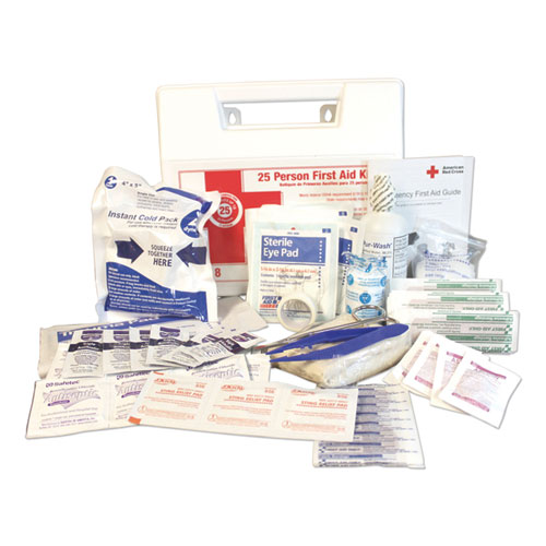 25-Person First Aid Kit, 107 Pieces, Plastic Case