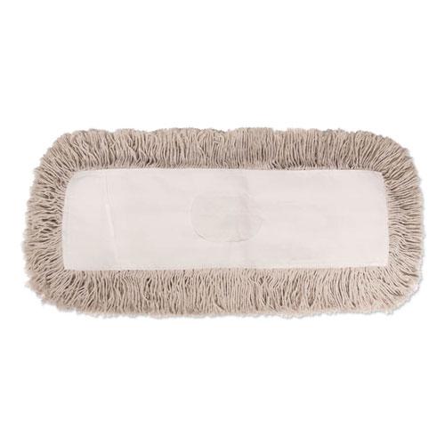 Industrial Dust Mop Head, Hygrade Cotton, 24w x 5d, White | by Plexsupply