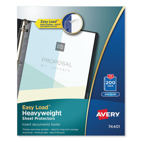 Top-Load Poly Sheet Protectors, Heavyweight, Letter, Nonglare, 200/Box | by Plexsupply