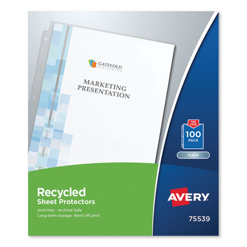 Avery® Top-Load Recycled Polypropylene Sheet Protector, Clear, 100/Box