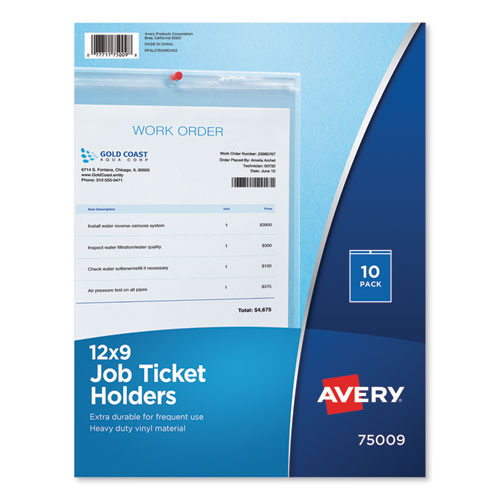 Job Ticket Holders, Heavy Gauge Vinyl, 9 x 12, Clear, 10/Pack | by Plexsupply