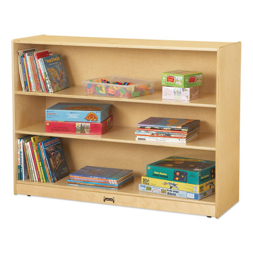 Adjustable Mobile Straight-Shelves, Super-Sized, 48w x 15d x 35.5h, Birch