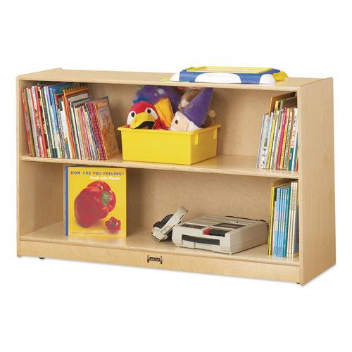 Adjustable Mobile Straight-Shelves, Low, 48w x 15d x 29.5h, Birch