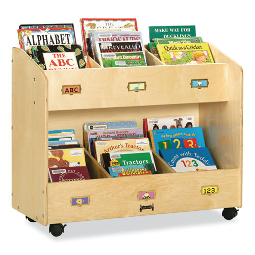 Mobile Section Book Organizers, Six-Section, 36w x 16d x 29.5h, Birch