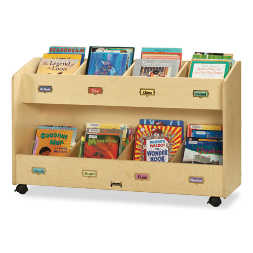 Mobile Section Book Organizers, Eight-Section, 48w x 16d x 29.5h, Birch