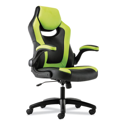 9-Fourteen High-Back Racing Style Chair with Flip-Up Arms, Supports up to 225 lbs., Black Seat/Green Back, Black Base