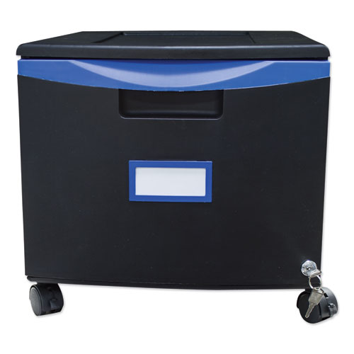Single-Drawer Mobile Filing Cabinet, 14.75w x 18.25d x 12.75h, Black/Blue