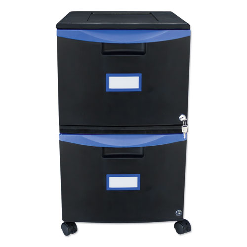 Two-Drawer Mobile Filing Cabinet, 14.75w x 18.25d x 26h, Black/Blue