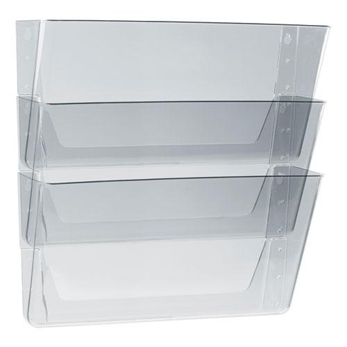 Wall File, Legal 16 x 14, Three Pocket, Clear   by Plexsupply